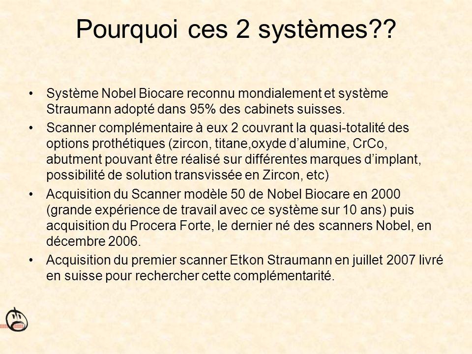 Pourquoi ces 2 systèmes Système Nobel Biocare reconnu mondialement et système Straumann adopté dans 95% des cabinets suisses.