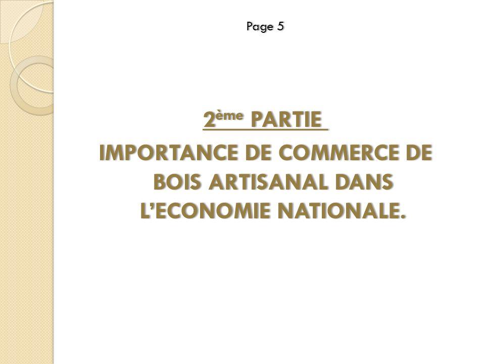 IMPORTANCE DE COMMERCE DE BOIS ARTISANAL DANS L'ECONOMIE NATIONALE.