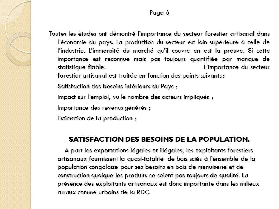 SATISFACTION DES BESOINS DE LA POPULATION.