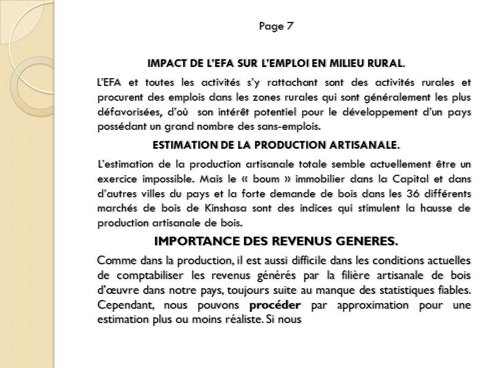 IMPACT DE L'EFA SUR L'EMPLOI EN MILIEU RURAL.