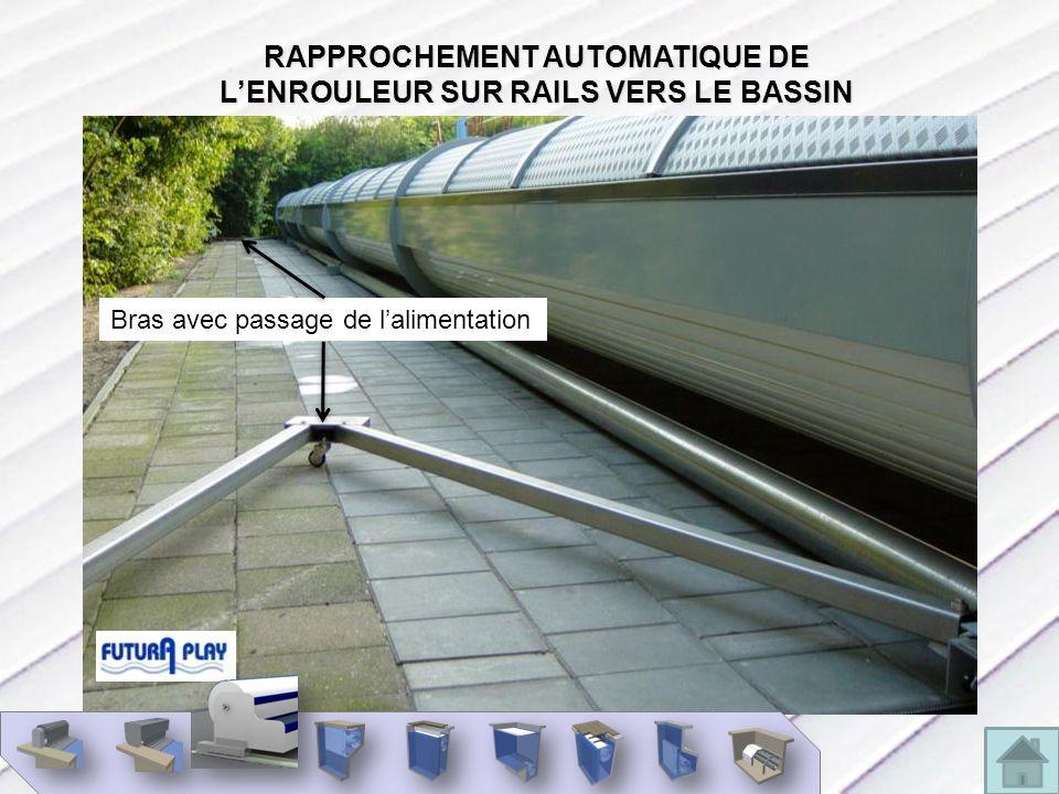 RAPPROCHEMENT AUTOMATIQUE DE L'ENROULEUR SUR RAILS VERS LE BASSIN