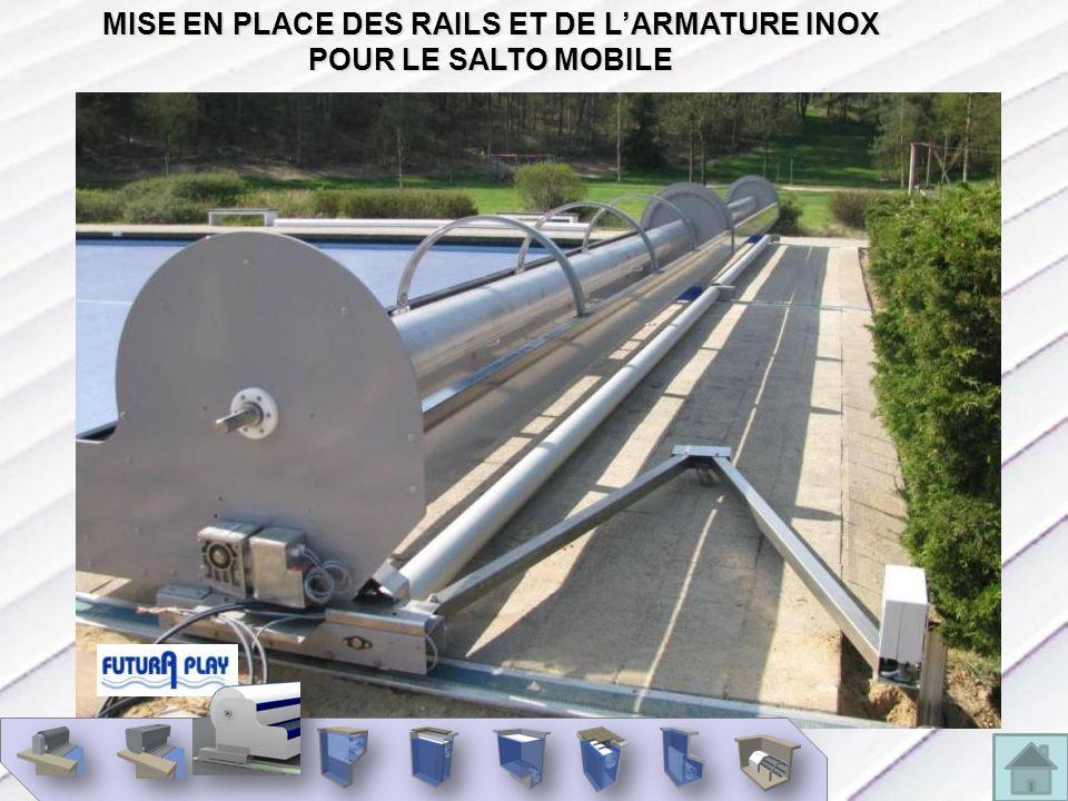 MISE EN PLACE DES RAILS ET DE L'ARMATURE INOX POUR LE SALTO MOBILE