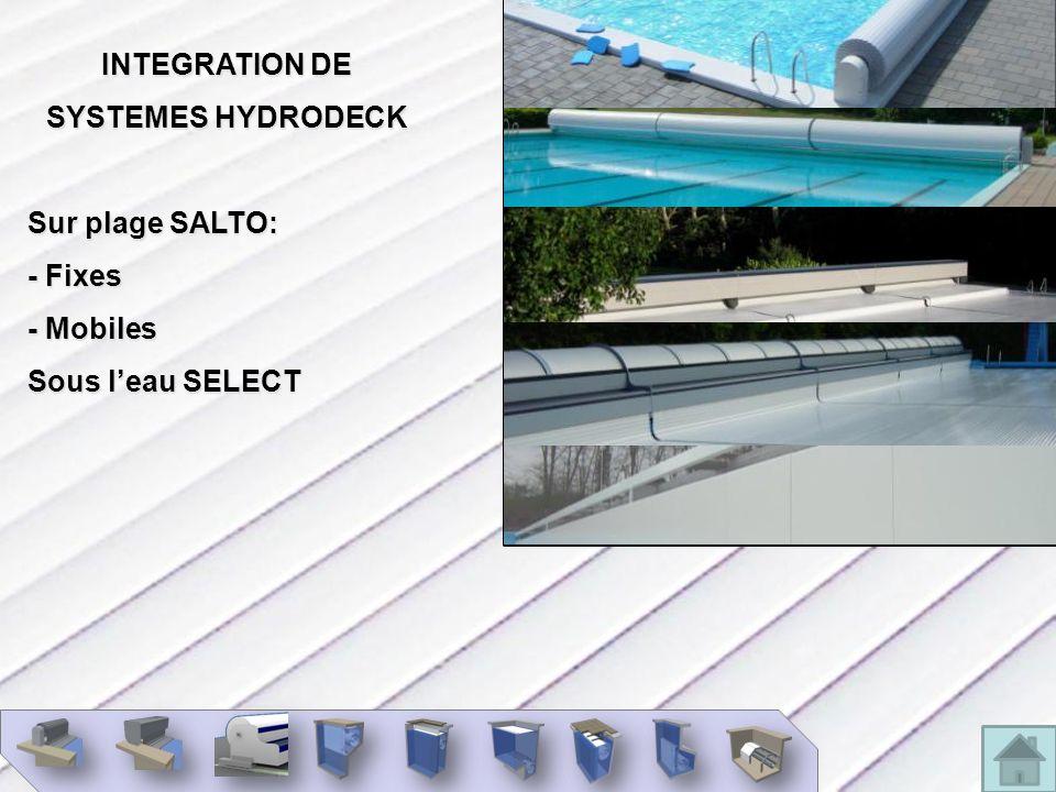 INTEGRATION DE SYSTEMES HYDRODECK Sur plage SALTO: - Fixes - Mobiles Sous l'eau SELECT