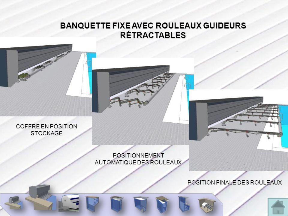 BANQUETTE FIXE AVEC ROULEAUX GUIDEURS RÉTRACTABLES
