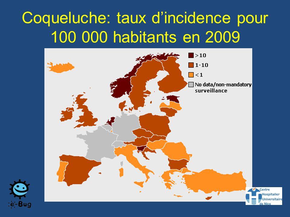 Coqueluche: taux d'incidence pour 100 000 habitants en 2009