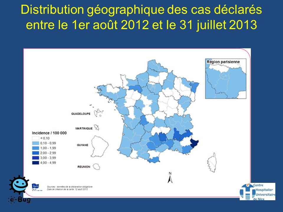Distribution géographique des cas déclarés entre le 1er août 2012 et le 31 juillet 2013