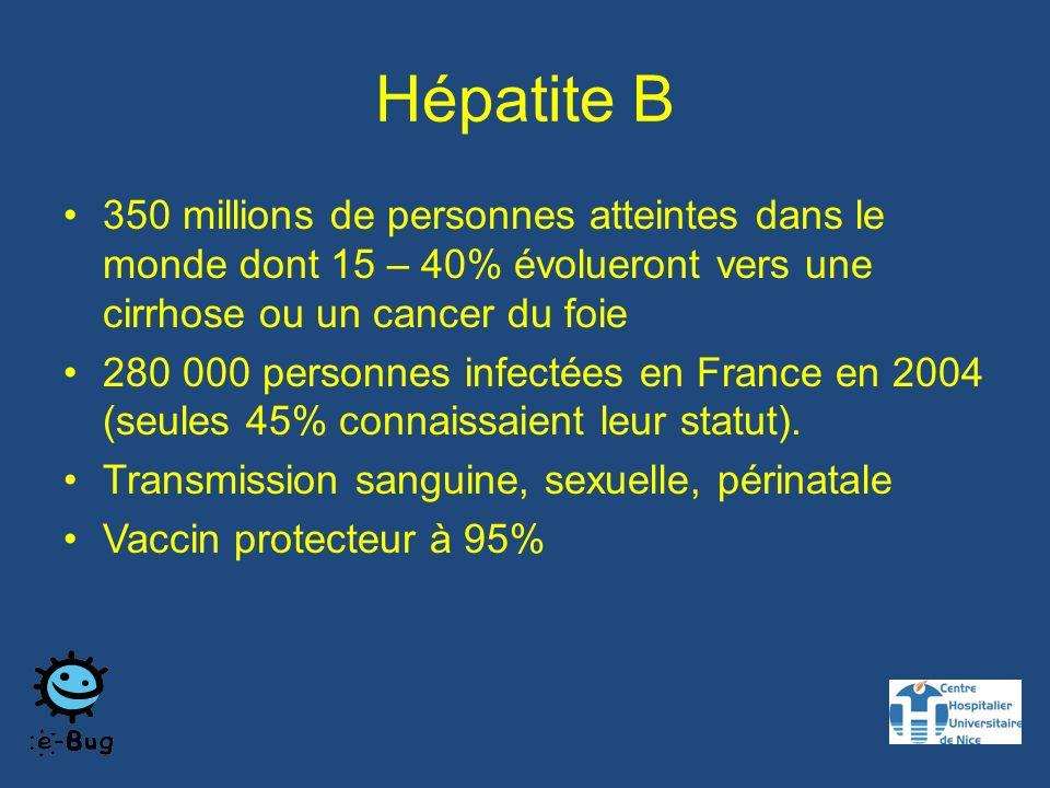 Hépatite B 350 millions de personnes atteintes dans le monde dont 15 – 40% évolueront vers une cirrhose ou un cancer du foie.