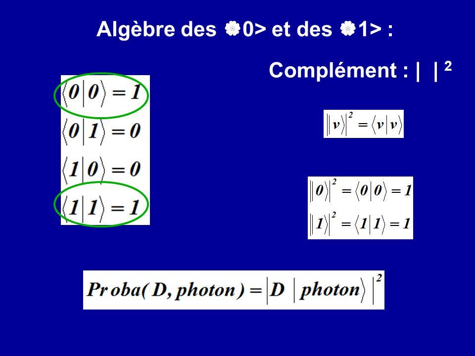 Algèbre des 0> et des 1> :