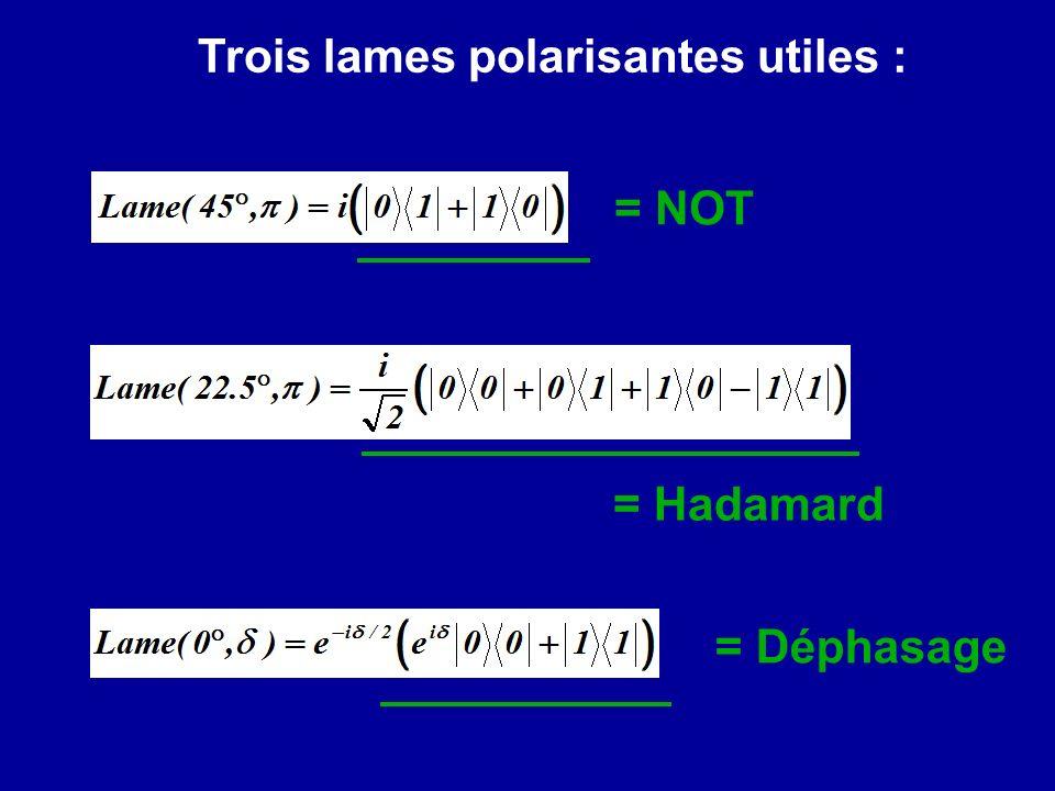 Trois lames polarisantes utiles :