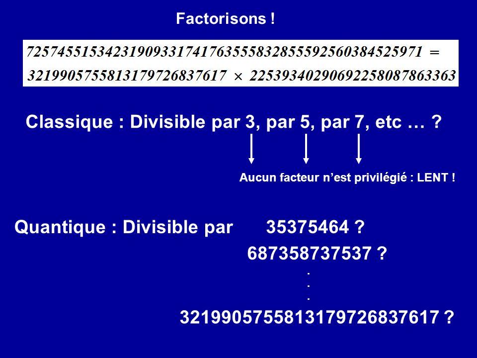 Classique : Divisible par 3, par 5, par 7, etc …