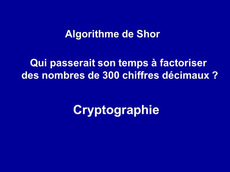 Cryptographie Algorithme de Shor Qui passerait son temps à factoriser