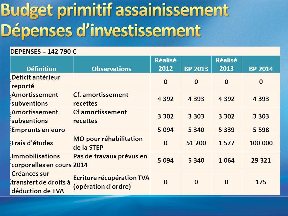 Budget primitif assainissement Dépenses d'investissement