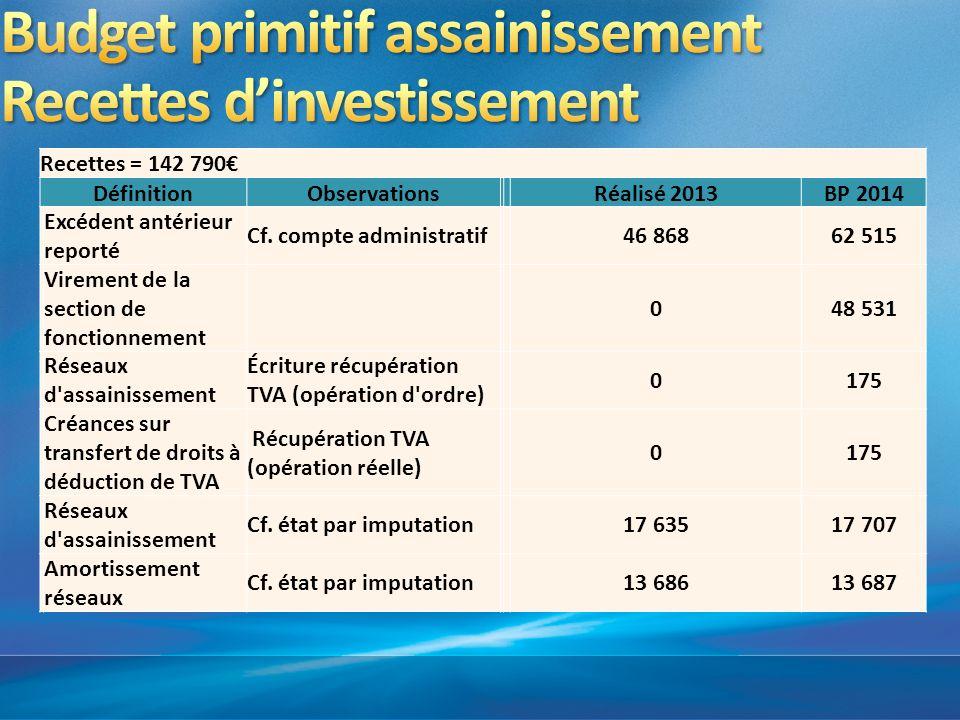 Budget primitif assainissement Recettes d'investissement