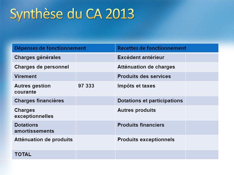 Synthèse du CA 2013 Dépenses de fonctionnement
