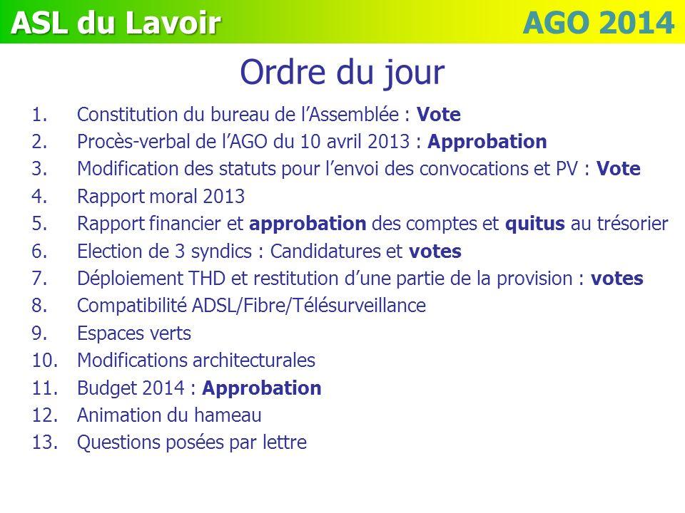 Ordre du jour Constitution du bureau de l'Assemblée : Vote