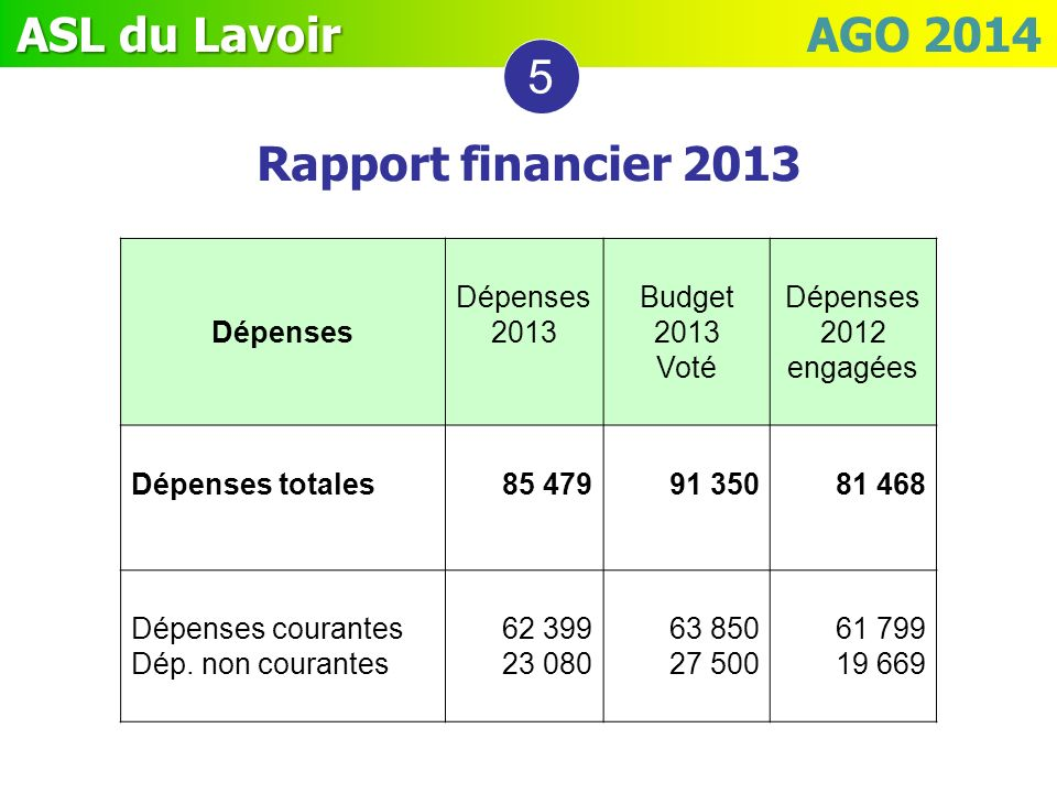 5 Rapport financier 2013 Dépenses Dépenses 2013 Budget 2013 Voté
