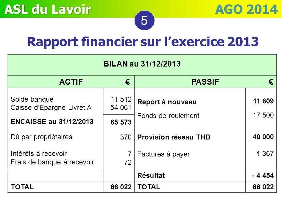 Rapport financier sur l'exercice 2013