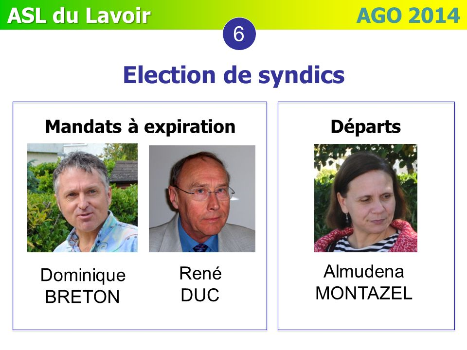 Election de syndics 6 Mandats à expiration Départs Almudena MONTAZEL