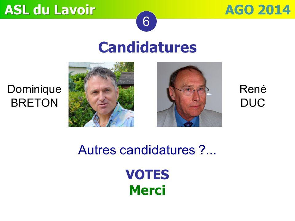 Candidatures 6 Autres candidatures ... VOTES Merci Dominique BRETON