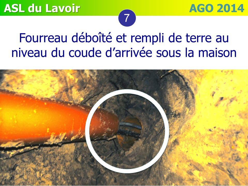 7 Fourreau déboîté et rempli de terre au niveau du coude d'arrivée sous la maison