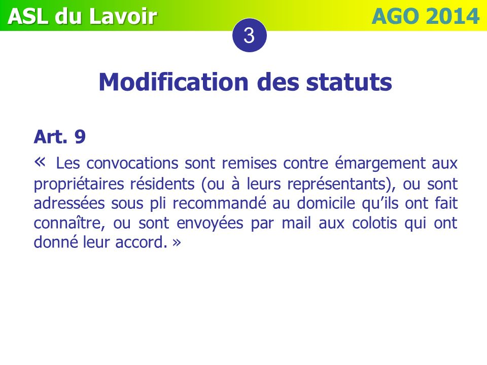 Modification des statuts