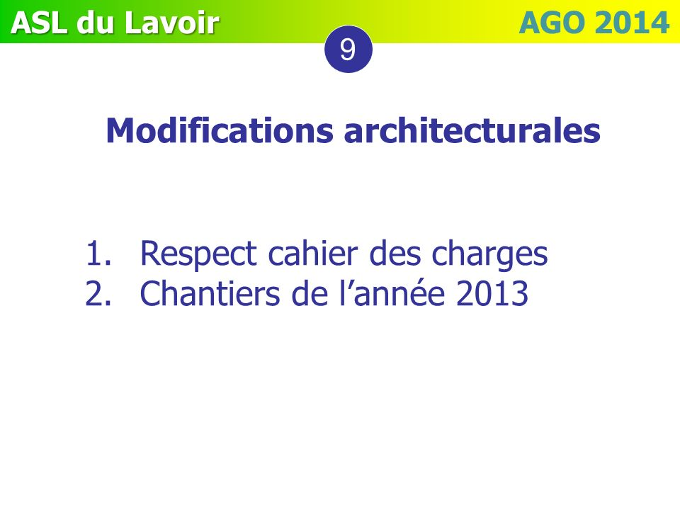 Modifications architecturales