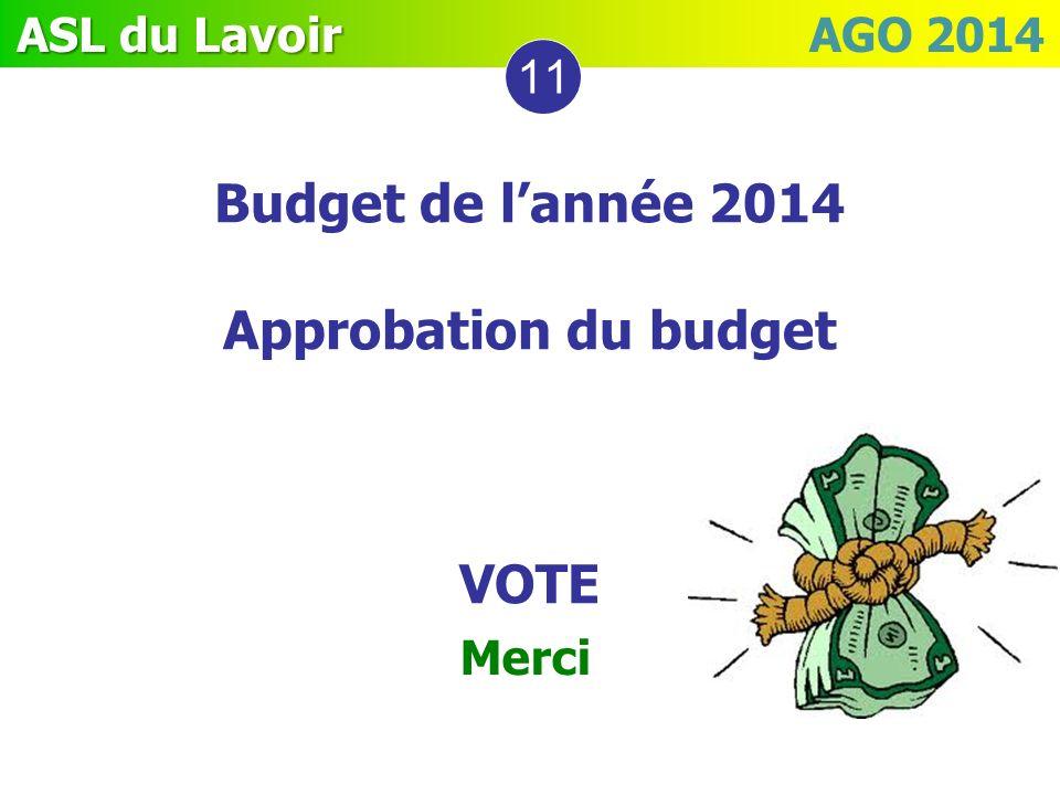 Budget de l'année 2014 Approbation du budget VOTE