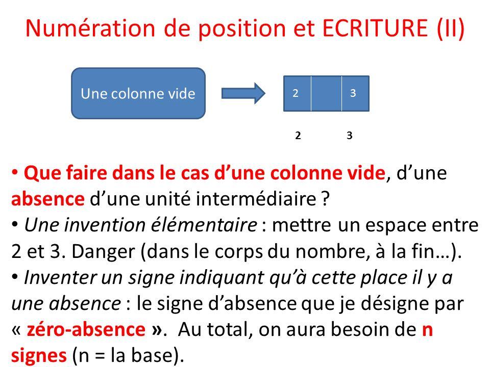Numération de position et ECRITURE (II)