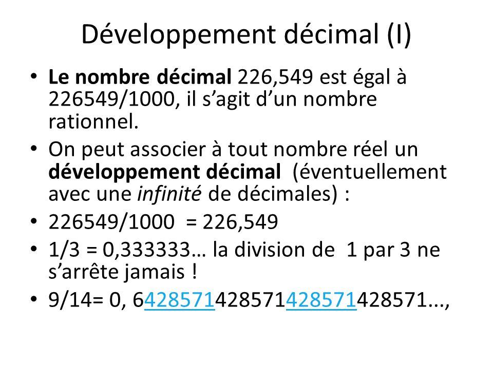 Développement décimal (I)