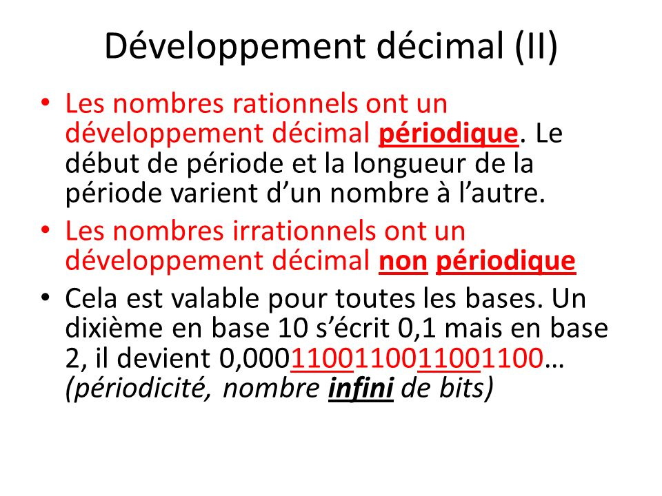 Développement décimal (II)