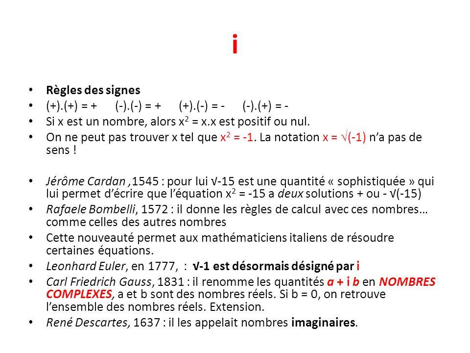 i Règles des signes (+).(+) = + (-).(-) = + (+).(-) = - (-).(+) = -