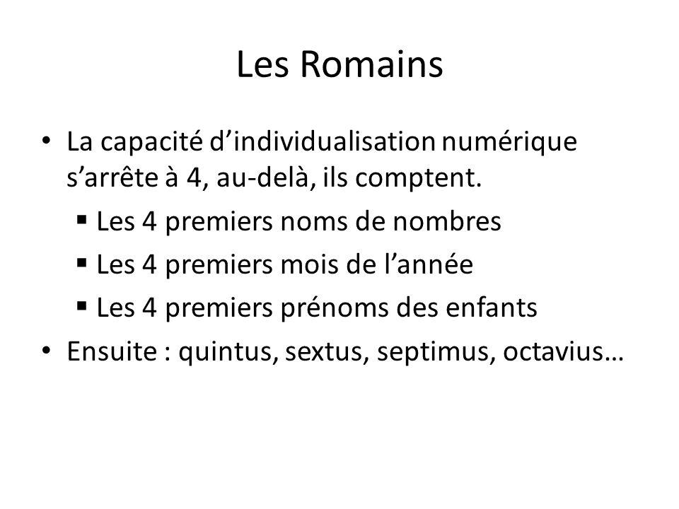 Les Romains La capacité d'individualisation numérique s'arrête à 4, au-delà, ils comptent. Les 4 premiers noms de nombres.