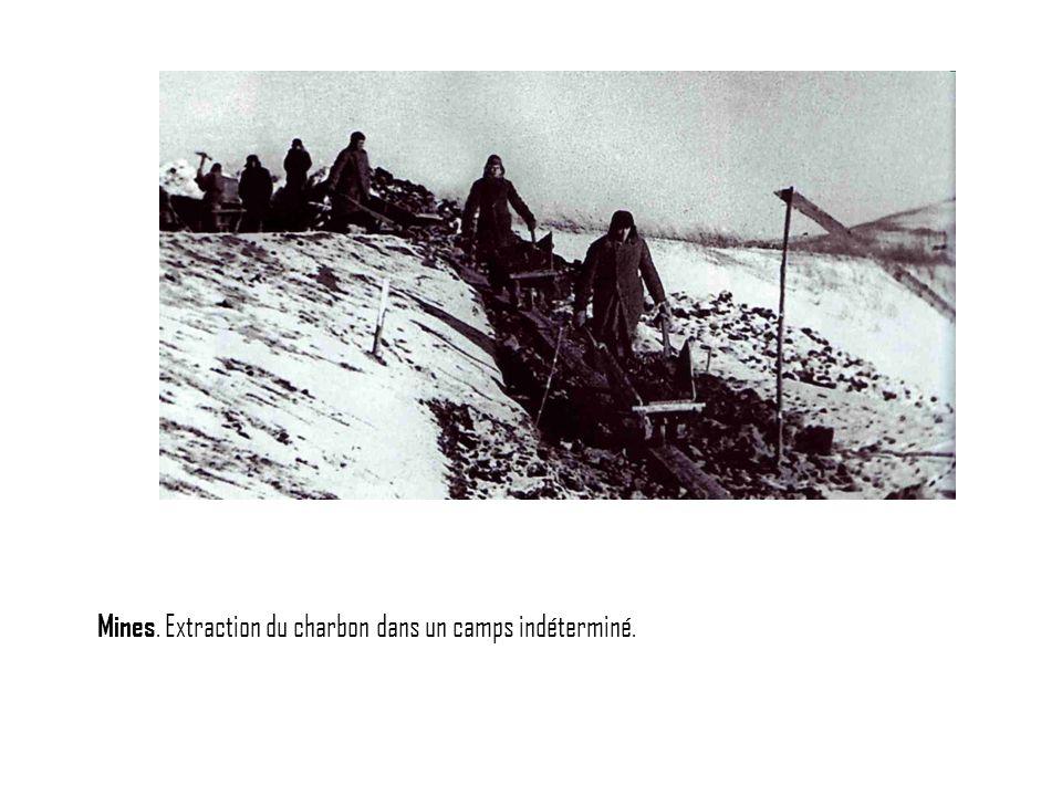 Mines. Extraction du charbon dans un camps indéterminé.