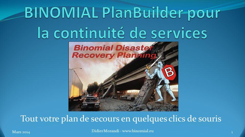 BINOMIAL PlanBuilder pour la continuité de services