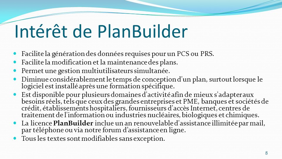 Intérêt de PlanBuilder