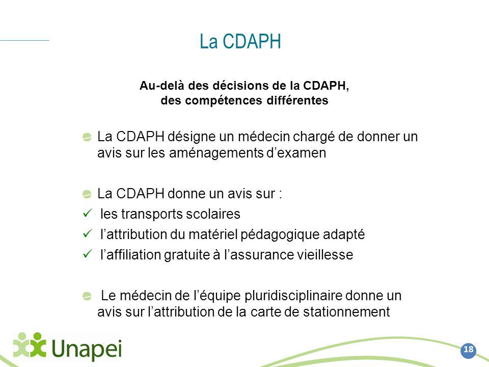 Au-delà des décisions de la CDAPH, des compétences différentes