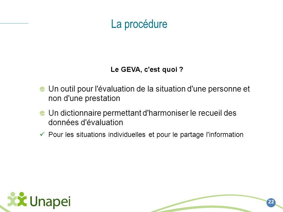 La procédure Le GEVA, c est quoi Un outil pour l évaluation de la situation d une personne et non d une prestation.