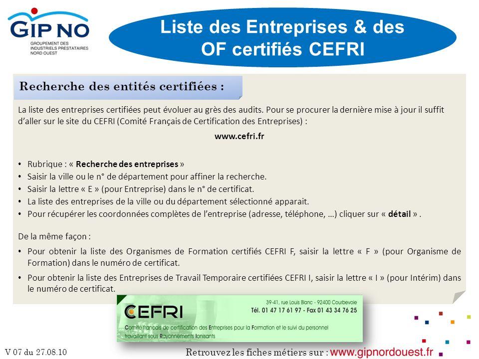 Liste des Entreprises & des OF certifiés CEFRI