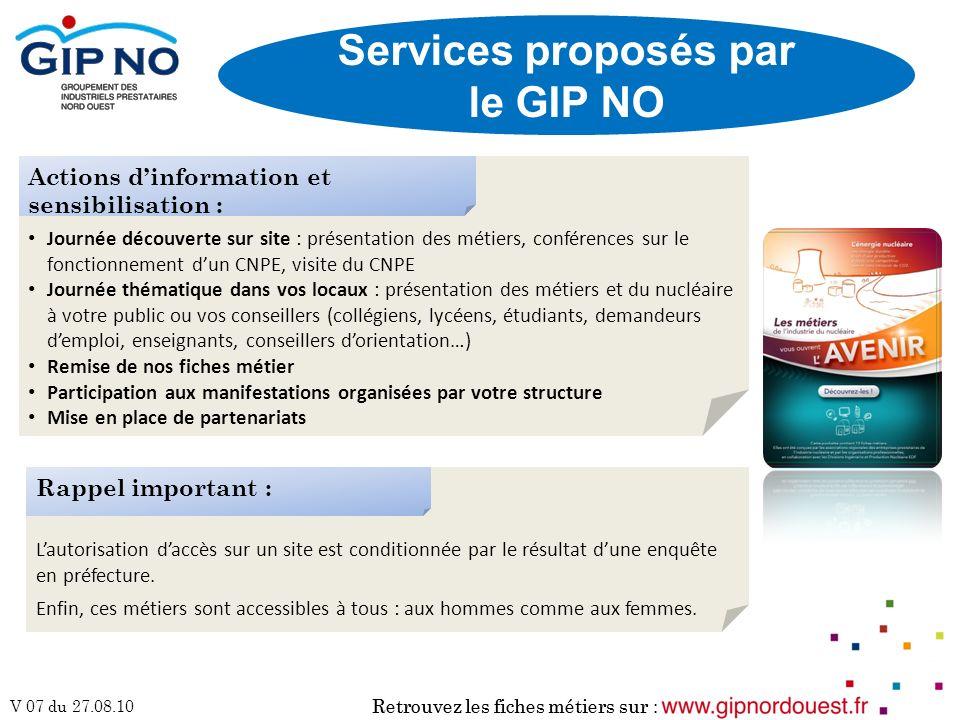 Services proposés par le GIP NO