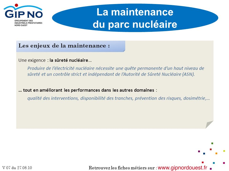 La maintenance du parc nucléaire
