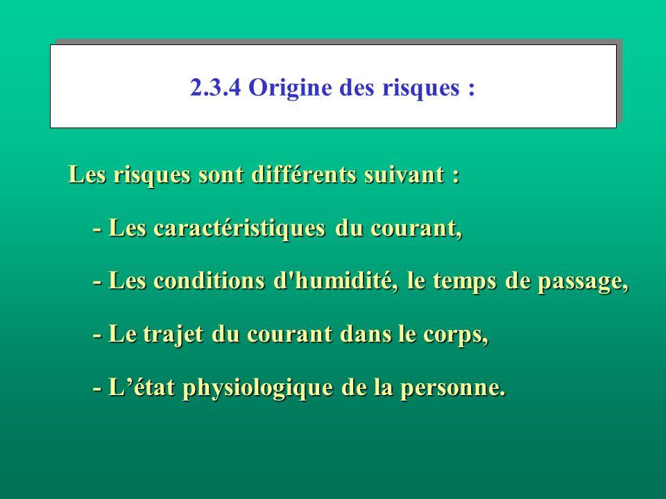 2.3.4 Origine des risques : Les risques sont différents suivant : - Les caractéristiques du courant,