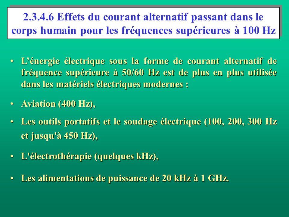 2.3.4.6 Effets du courant alternatif passant dans le corps humain pour les fréquences supérieures à 100 Hz