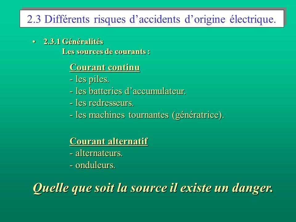2.3 Différents risques d'accidents d'origine électrique.