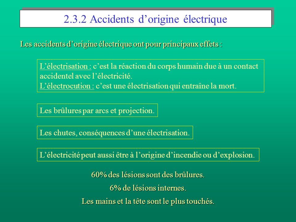2.3.2 Accidents d'origine électrique
