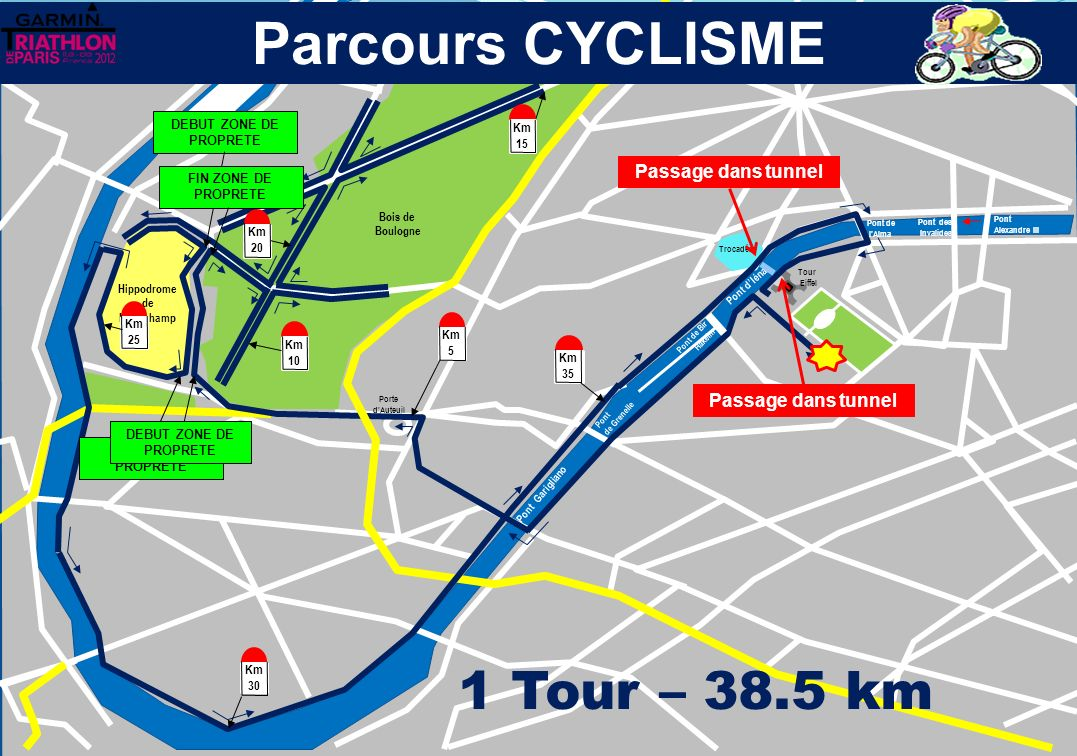Parcours CYCLISME 1 Tour – 38.5 km 4 Passage dans tunnel