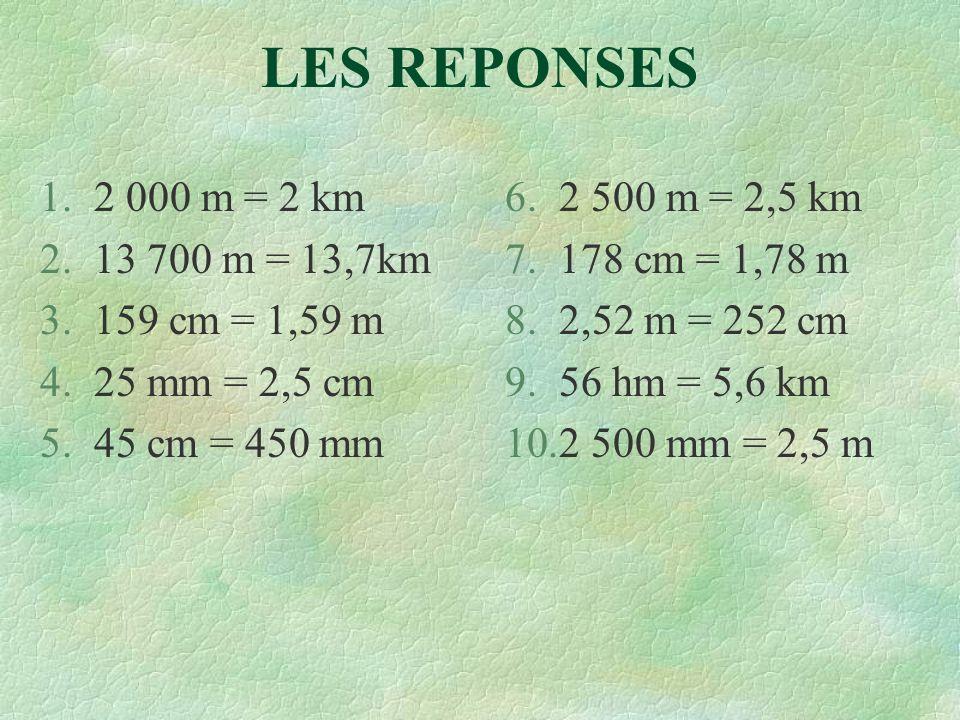 LES REPONSES 2 000 m = 2 km 13 700 m = 13,7km 159 cm = 1,59 m