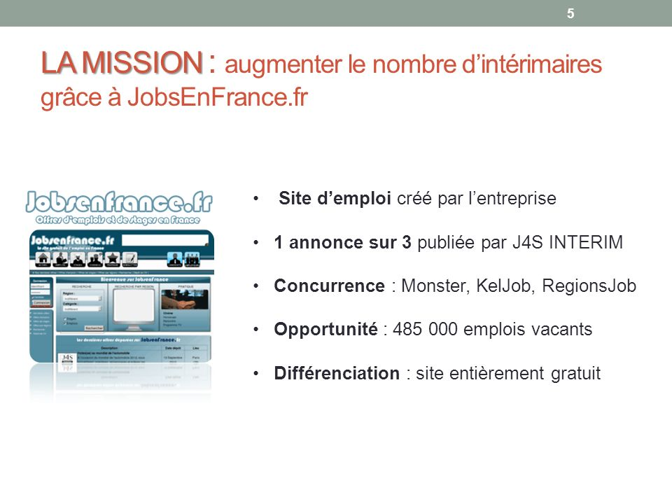 LA MISSION : augmenter le nombre d'intérimaires grâce à JobsEnFrance