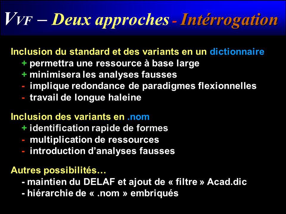 VVF – Deux approches - Intérrogation
