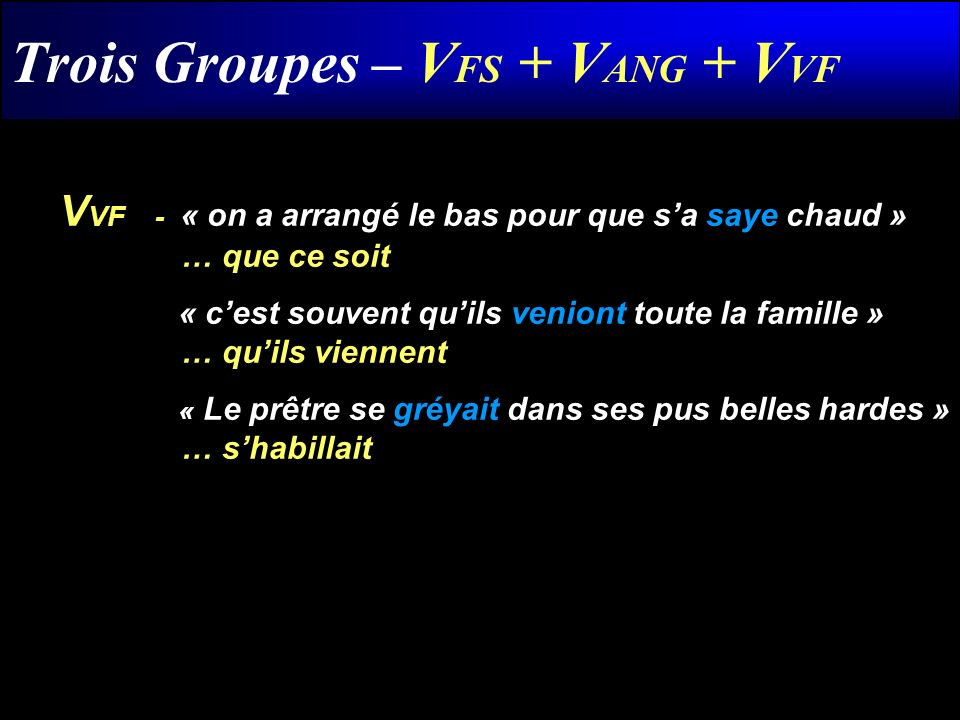 Trois Groupes – VFS + VANG + VVF