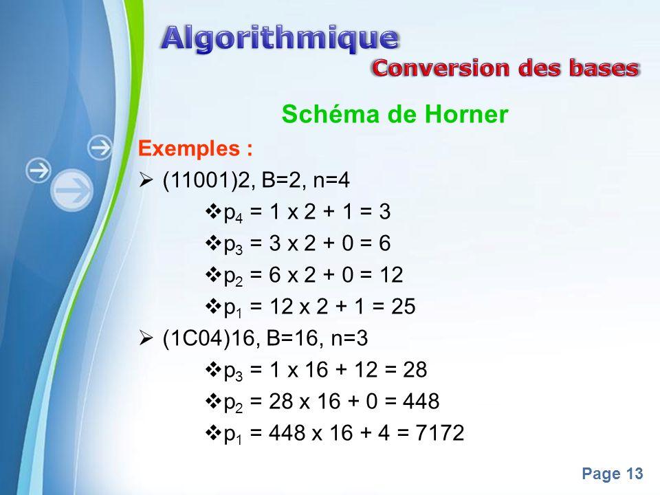 Algorithmique Schéma de Horner Conversion des bases Exemples :